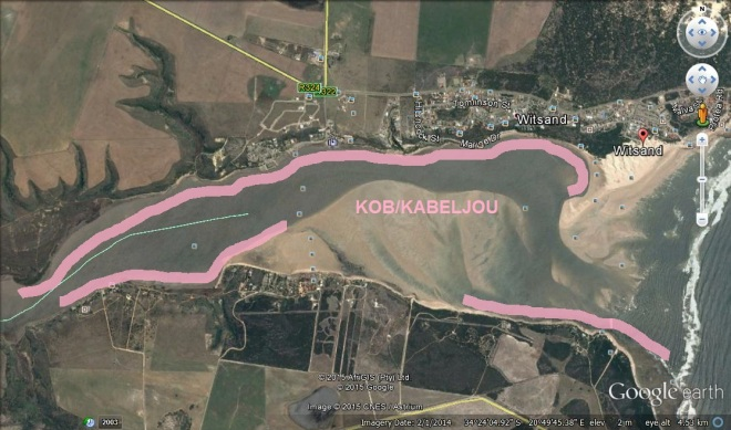 Kob spots marked in pink.