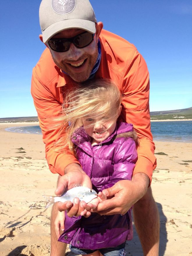 "Heila with her first fish, a ""vis stomp"""